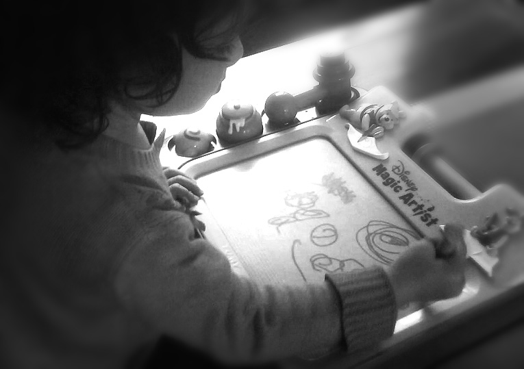 Toddler drawing Disney_B&W